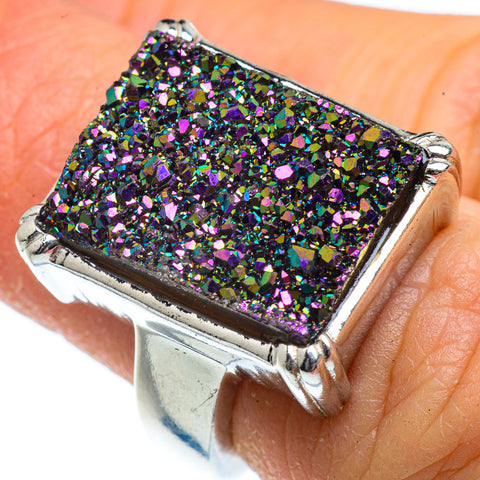 Titanium Druzy Rings handcrafted by Ana Silver Co - RING40406
