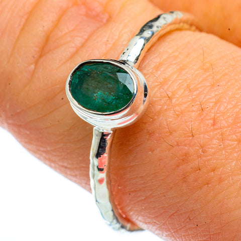 Zambian Emerald Rings handcrafted by Ana Silver Co - RING40420