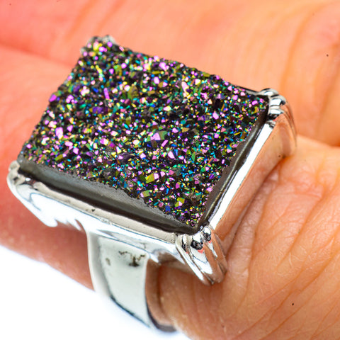 Titanium Druzy Rings handcrafted by Ana Silver Co - RING40438