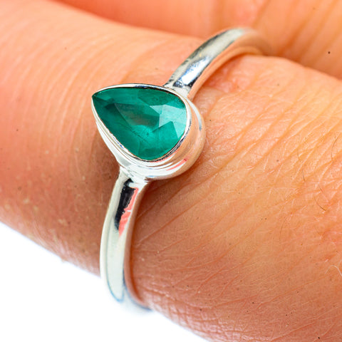Zambian Emerald Rings handcrafted by Ana Silver Co - RING40635