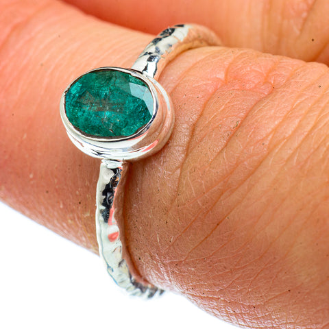 Zambian Emerald Rings handcrafted by Ana Silver Co - RING40655