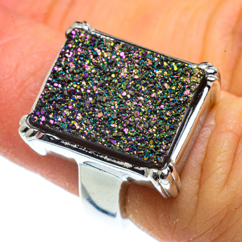 Titanium Druzy Rings handcrafted by Ana Silver Co - RING40813
