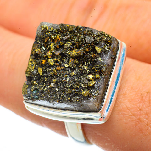 Spectro Pyrite Druzy Rings handcrafted by Ana Silver Co - RING41914