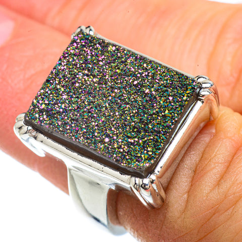 Titanium Druzy Rings handcrafted by Ana Silver Co - RING42114