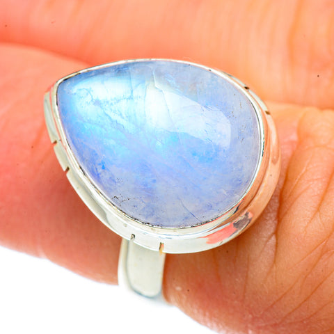 Rainbow Moonstone Rings handcrafted by Ana Silver Co - RING42267