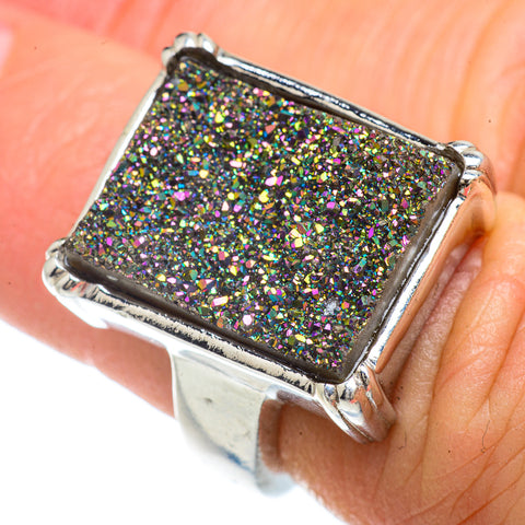 Titanium Druzy Rings handcrafted by Ana Silver Co - RING42302