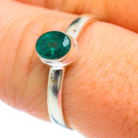Zambian Emerald Rings handcrafted by Ana Silver Co - RING42428