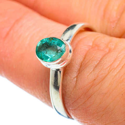 Zambian Emerald Rings handcrafted by Ana Silver Co - RING42499