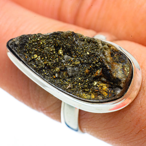 Spectro Pyrite Druzy Rings handcrafted by Ana Silver Co - RING42968