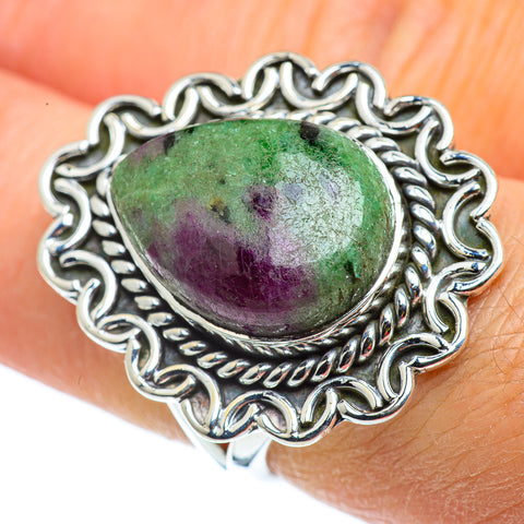 Ruby Zoisite Rings handcrafted by Ana Silver Co - RING43123