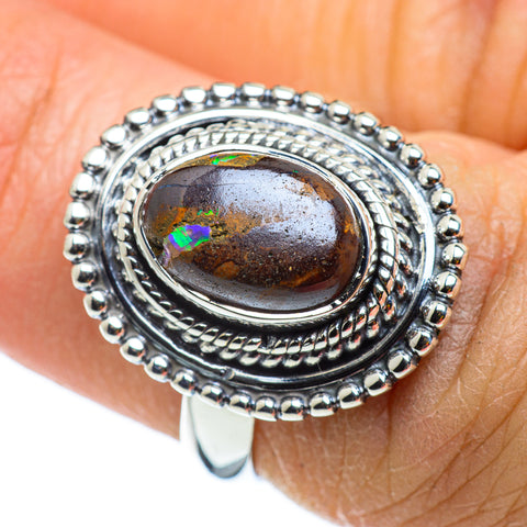 Boulder Opal Rings handcrafted by Ana Silver Co - RING43169