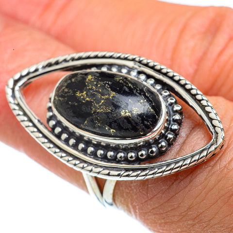 Pyrite In Black Onyx Rings handcrafted by Ana Silver Co - RING43241