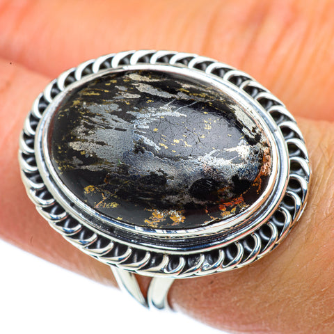 Pyrite In Black Onyx Rings handcrafted by Ana Silver Co - RING43369