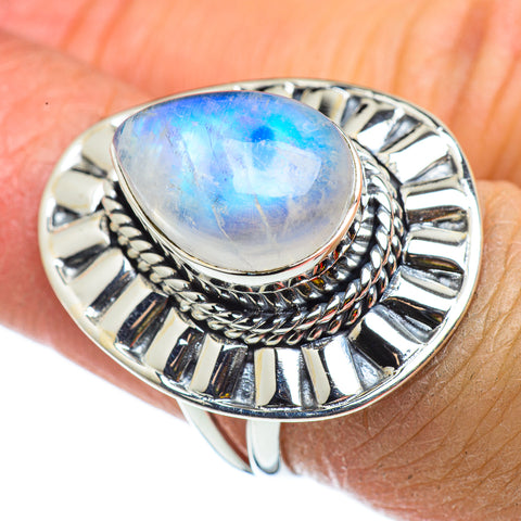 Rainbow Moonstone Rings handcrafted by Ana Silver Co - RING43371
