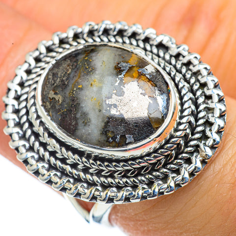 Pyrite Agate Rings handcrafted by Ana Silver Co - RING43506