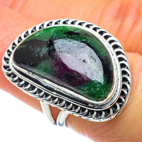 Ruby Zoisite Rings handcrafted by Ana Silver Co - RING43526