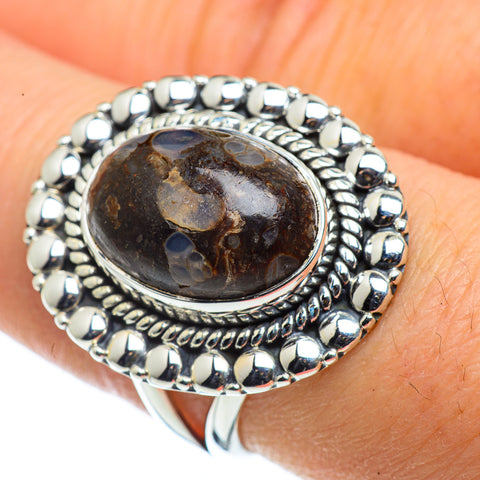Turritella Agate Rings handcrafted by Ana Silver Co - RING43695