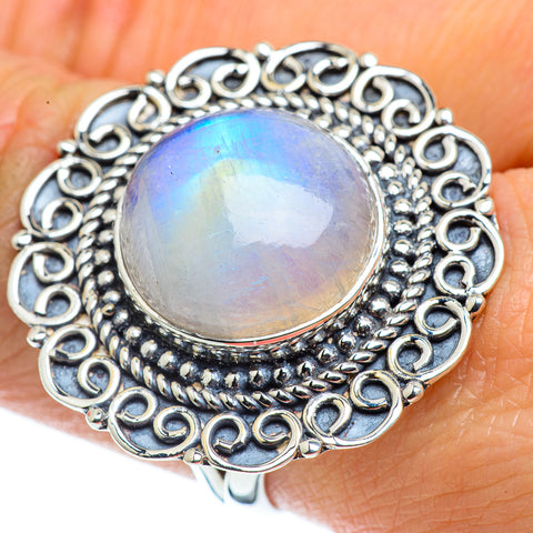 Rainbow Moonstone Rings handcrafted by Ana Silver Co - RING43868