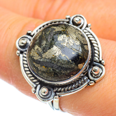 Pyrite In Black Onyx Rings handcrafted by Ana Silver Co - RING43981