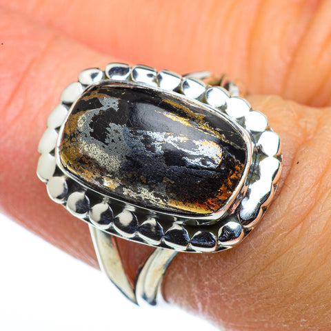 Pyrite In Black Onyx Rings handcrafted by Ana Silver Co - RING44368