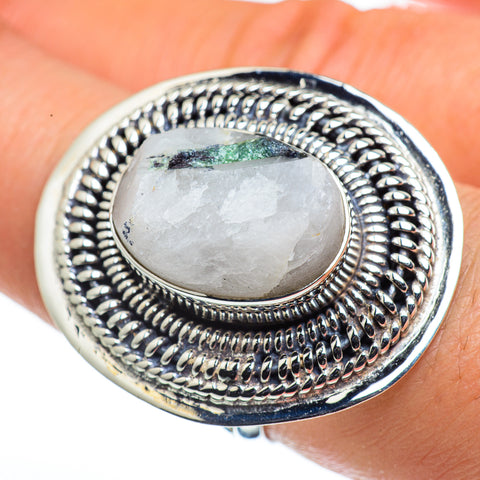Green Tourmaline In Quartz Rings handcrafted by Ana Silver Co - RING44641