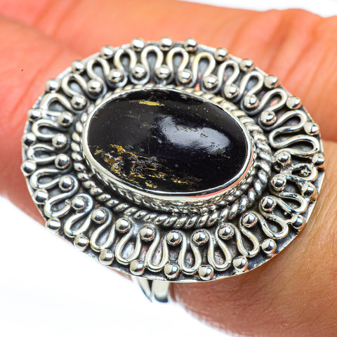 Pyrite In Black Onyx Rings handcrafted by Ana Silver Co - RING44679