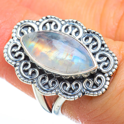 Rainbow Moonstone Rings handcrafted by Ana Silver Co - RING44708