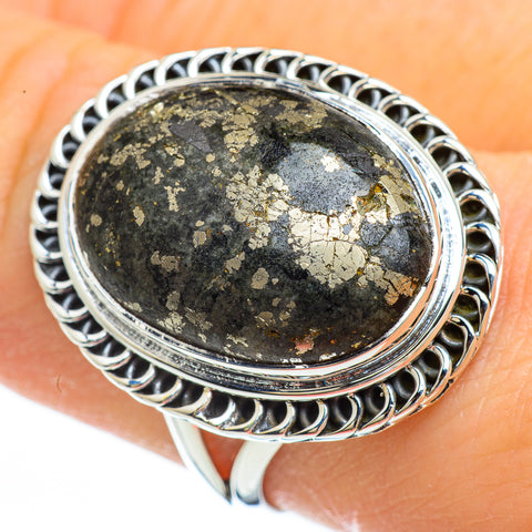 Pyrite In Black Onyx Rings handcrafted by Ana Silver Co - RING44762