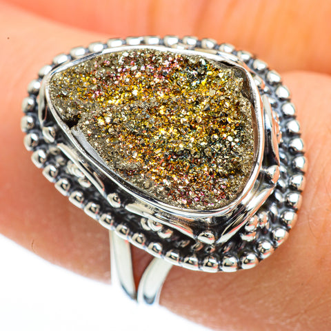 Spectro Pyrite Druzy Rings handcrafted by Ana Silver Co - RING44785