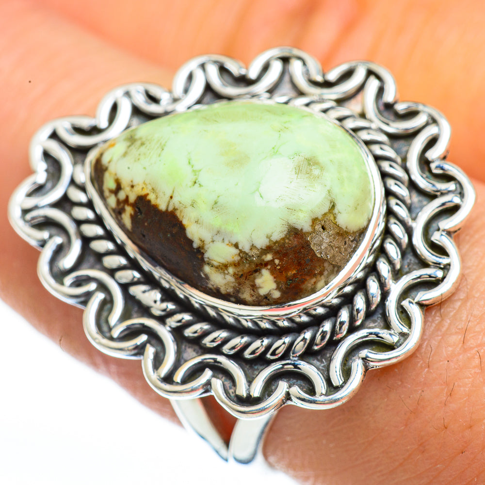 Lemon Chrysoprase Rings handcrafted by Ana Silver Co - RING45183