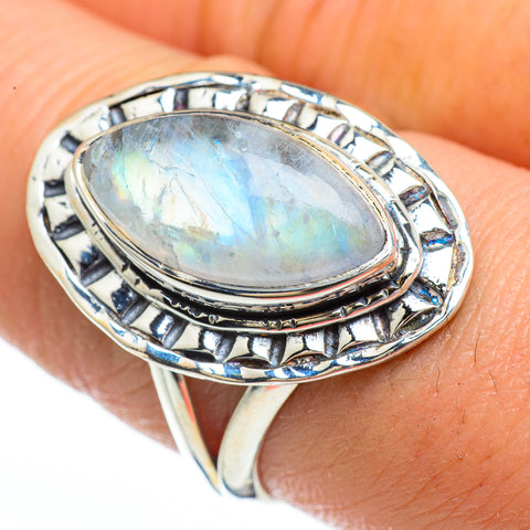 Rainbow Moonstone Rings handcrafted by Ana Silver Co - RING45195
