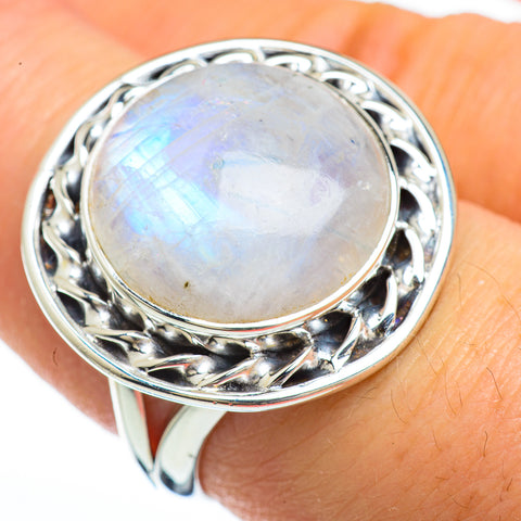 Rainbow Moonstone Rings handcrafted by Ana Silver Co - RING45218