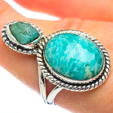 Amazonite, Chrysoprase Rings handcrafted by Ana Silver Co - RING45464
