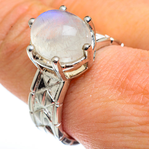 Rainbow Moonstone Rings handcrafted by Ana Silver Co - RING45641