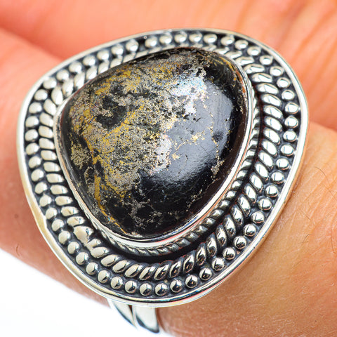 Pyrite In Black Onyx Rings handcrafted by Ana Silver Co - RING45700