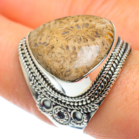 Fossil Coral Rings handcrafted by Ana Silver Co - RING45815