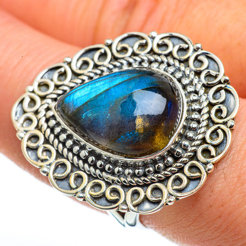 Labradorite Rings handcrafted by Ana Silver Co - RING45845