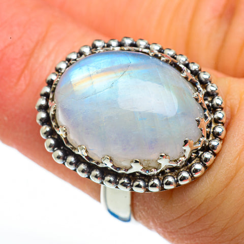 Rainbow Moonstone Rings handcrafted by Ana Silver Co - RING45906