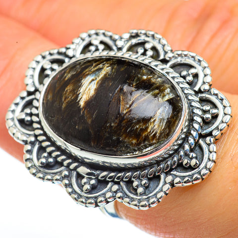 Golden Seraphinite Rings handcrafted by Ana Silver Co - RING46184