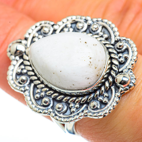 White Scolecite Rings handcrafted by Ana Silver Co - RING46201