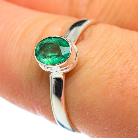 Zambian Emerald Rings handcrafted by Ana Silver Co - RING46325
