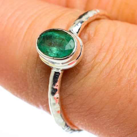 Zambian Emerald Rings handcrafted by Ana Silver Co - RING46471