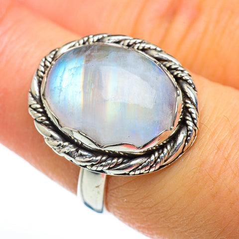 Rainbow Moonstone Rings handcrafted by Ana Silver Co - RING46717