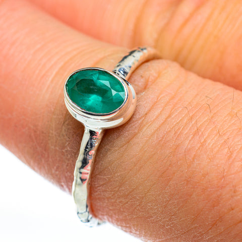 Zambian Emerald Rings handcrafted by Ana Silver Co - RING46847