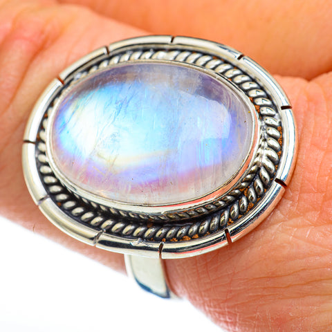Rainbow Moonstone Rings handcrafted by Ana Silver Co - RING46926