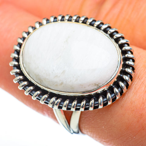 White Scolecite Rings handcrafted by Ana Silver Co - RING47010