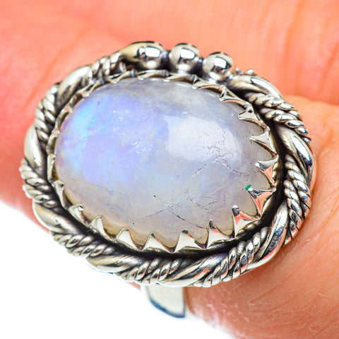 Rainbow Moonstone Rings handcrafted by Ana Silver Co - RING47011