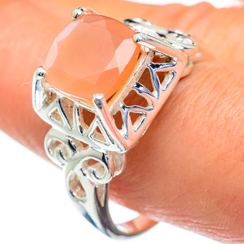 Peach Moonstone Rings handcrafted by Ana Silver Co - RING47278