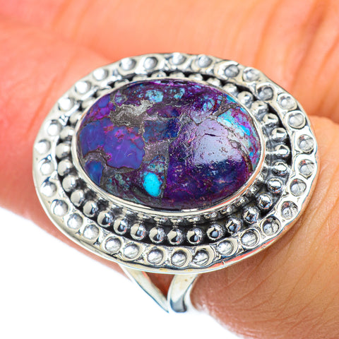 Purple Copper Composite Turquoise Rings handcrafted by Ana Silver Co - RING47286
