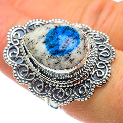 K2 Blue Azurite Rings handcrafted by Ana Silver Co - RING47801